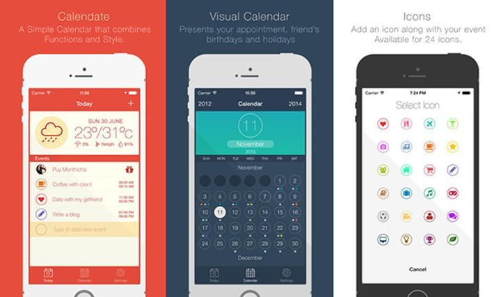 Sade tasarımlı iOS takvim uygulaması Calendate ücretsiz yapıldı
