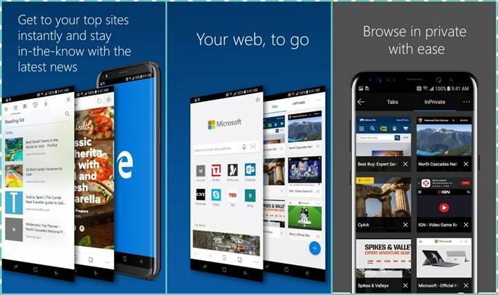 Microsoft Edge'in Android sürümü kullanıma hazır